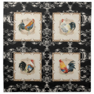 Gallo francés del blanco del negro n del damasco d servilletas imprimidas