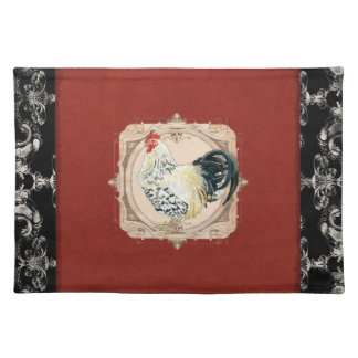 Gallo francés del damasco del país del vintage mantel individual