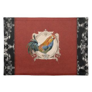 Gallo francés del damasco del país del vintage manteles individuales