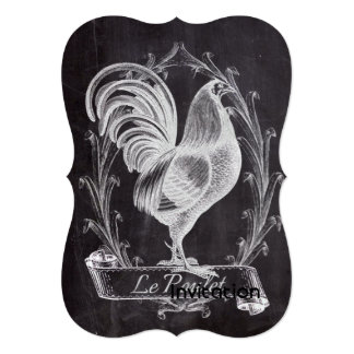 """gallo francés del país del arte de la pizarra del invitación 5"""" x 7"""""""