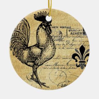 Gallo francés del vintage en la arpillera adorno navideño redondo de cerámica