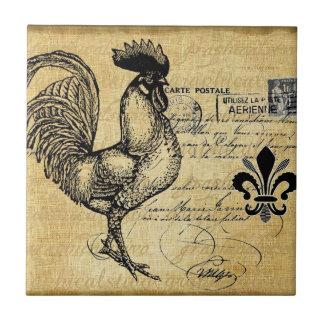 Gallo francés del vintage en la arpillera tejas  ceramicas