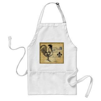 Gallo francés del vintage en la arpillera delantal