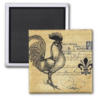 Gallo francés del vintage en la arpillera imán cuadrado