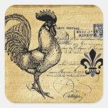 Gallo francés del vintage en la arpillera calcomania cuadradas personalizadas