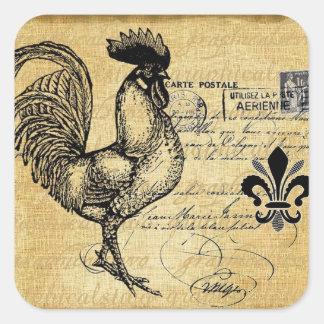 Gallo francés del vintage en la arpillera pegatina cuadrada