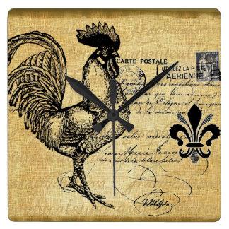 Gallo francés del vintage en la arpillera reloj cuadrado