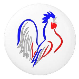 Gallo francés pomo de cerámica