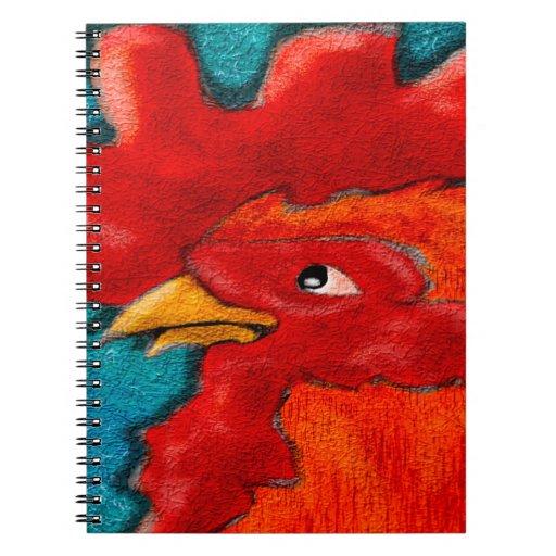 Gallo GreetingCard y más del arte popular Libro De Apuntes Con Espiral