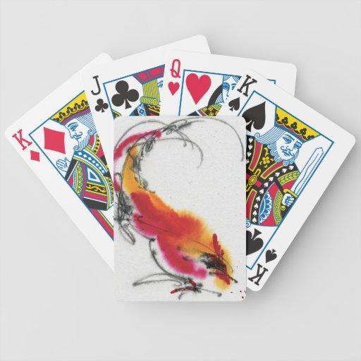 Gallo inusual. Caligrafía y watercolor. Cartas De Juego