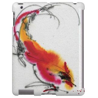 Gallo inusual. Caligrafía y watercolor. Funda Para iPad