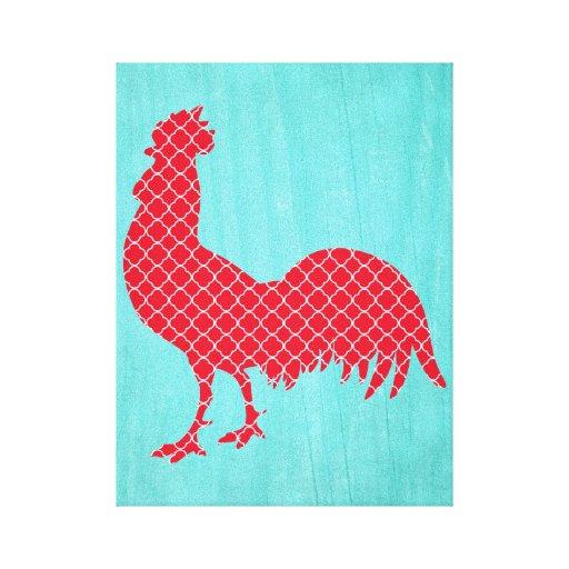Gallo modelado rojo lona estirada galerías