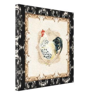 Gallo negro del blanco de Toile n del francés del  Impresión De Lienzo