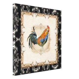 Gallo negro del blanco de Toile n del francés del  Lona Estirada Galerías