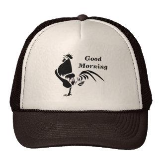 Gallo negro que canta la alarma de la buena mañana gorros bordados
