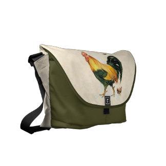 Gallo orgulloso con la gallina y los pollos bolsas messenger