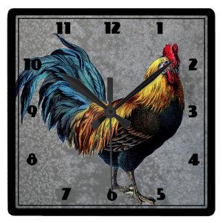 Gallo pequeno colorido reloj cuadrado