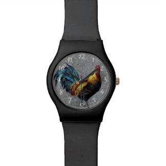 Gallo pequeno colorido reloj de mano