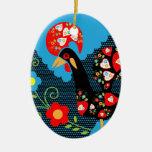 Gallo portugués adorno navideño ovalado de cerámica