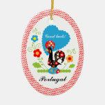Gallo portugués de la suerte ornamentos de reyes magos