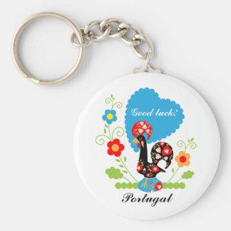Gallo portugués de la suerte llaveros personalizados