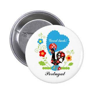 Gallo portugués de la suerte pin redondo de 2 pulgadas