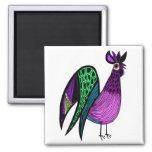 Gallo púrpura del arte popular imanes