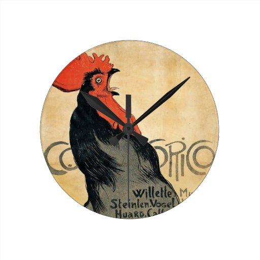 """Gallo que canta, diseño del vintage de """"Cocurico"""" Relojes De Pared"""