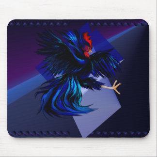 Gallo que lucha negro Mousepad