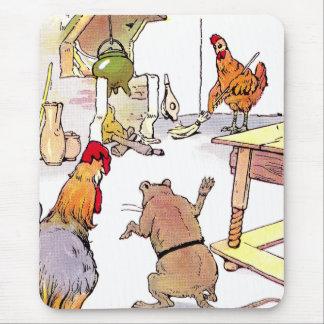 Gallo, ratón y gallina en cocina alfombrilla de ratones