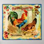 Gallo real de California del vintage Impresiones