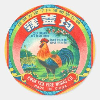 Gallo retro de la etiqueta del petardo del kitsch