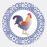 Gallo retro y flores franceses azules y blancos pegatinas redondas