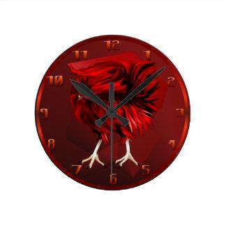 Gallo rojo caliente Wallclock Reloj Redondo Mediano
