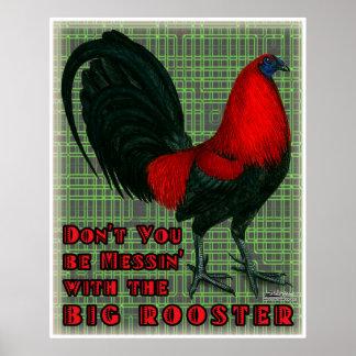 Gallo rojo grande impresiones