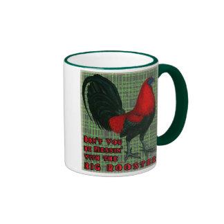 Gallo rojo grande taza de dos colores