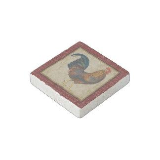 Gallo rojo imán de piedra