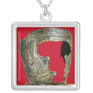 Gallo-Roman gladiator's mask Square Pendant Necklace