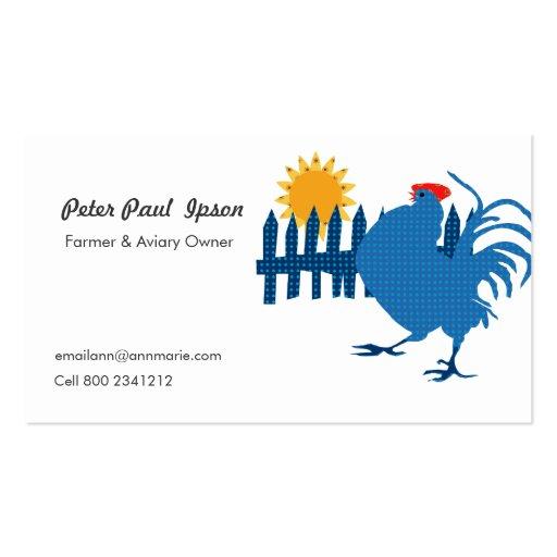 Gallo rural del país del granjero con sol tarjetas de visita