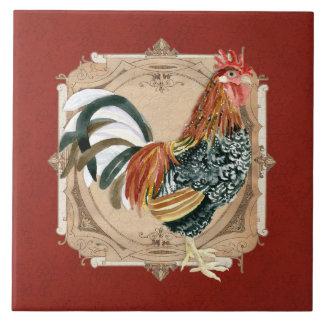 Gallo rústico del granero del país francés del est azulejos