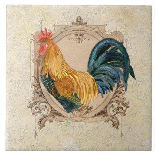 Gallo rústico del granero del país francés del est azulejo cuadrado grande