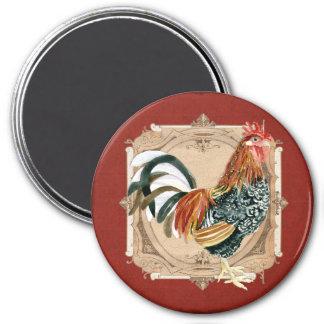 Gallo rústico del granero del país francés del est imán redondo 7 cm