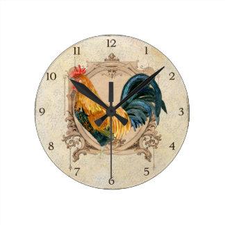 Gallo rústico del granero del país francés del est relojes de pared