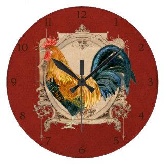 Gallo rústico del granero del país francés del est reloj redondo grande