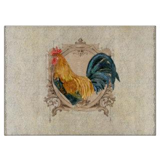 Gallo rústico del granero del país francés del tabla de cortar