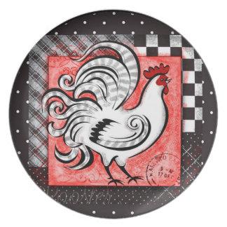 Gallo rústico - versión blanca - placa plato de cena