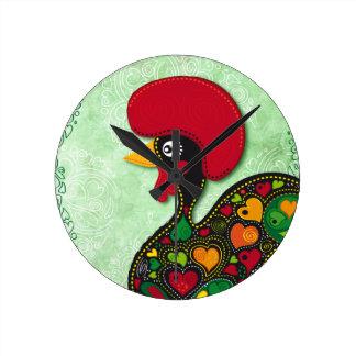 Gallo típico de Barcelos Reloj Redondo Mediano