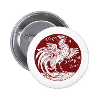 Gallo-uno-Doodle-Doo Pin Redondo 5 Cm