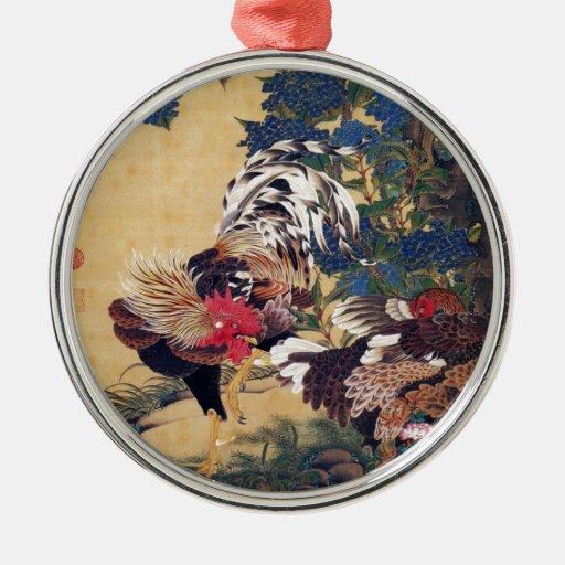 Gallo y gallina adorno redondo plateado