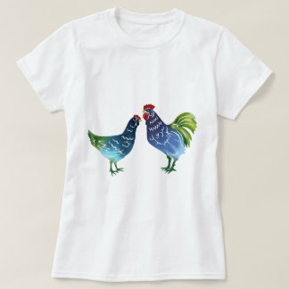 Gallo y gallina azules y verdes de la acuarela remeras